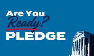 Lyceum on blue background. Text says, Are you ready? Pledge. Twitter size image.