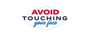 Line drawing shape, text says Avoid touching your face.