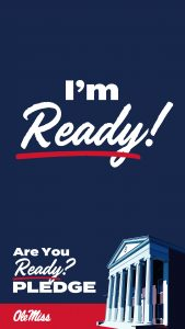 Lyceum on dark blue background. Text says I'm Ready!, Are you ready? Pledge. Ole Miss. Instagram story size image.