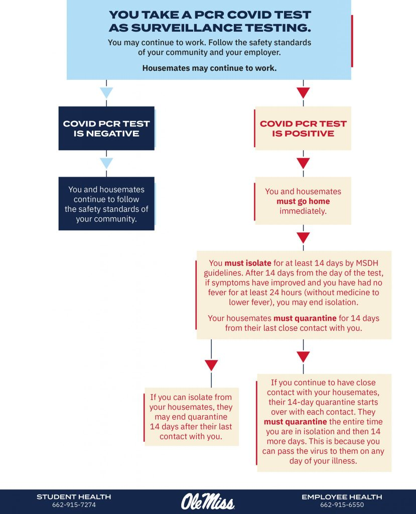 Flow chart for what to do when you take a non-rapid COVID-19 as part of surveillance testing